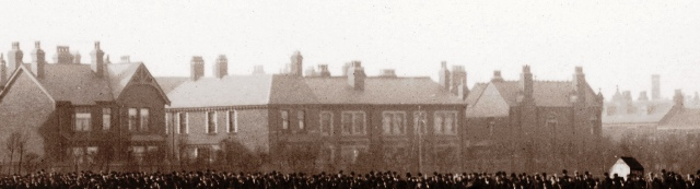 Raikes Parade in the early 1890s, viewed from Raikes Hall Gardens. Alderlea is on the right; this is before Richard Barlow had Glen May constructed.