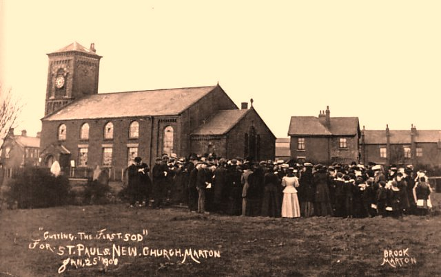 St.Pauls Church Marton cutting the first sod of the new church, 22 January 1908