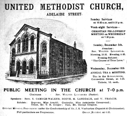 United Methodist Church, Adelaide Street, Blackpool, 1909.
