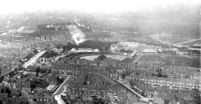 A photograph of the Royal Palace Gardens (Raikes Hall Gardens), seen from Blackpool Tower c1894.
