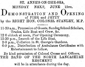 Newspaper advertisement for the official opening of St.Annes Pier in 1885.