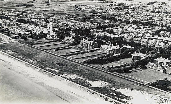 Aerial view of the large houses on Ansdell seafront c1950.