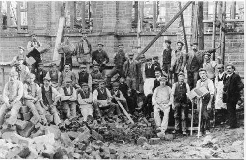 Workmen constructing St.Joseph's Church, Ansdell, 1909