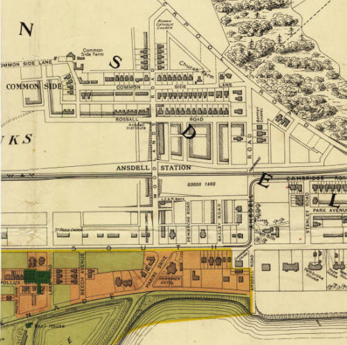 Plan c1908 of Ansdell showing the location of the goods yard. The Station Master's House was also on this site. The tramway is also marked running along Cambridge Road, Ansdell Road & Clifton Drive.