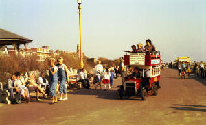 The miniature bus which ran from the pier, along the Promenade in the 1980s.