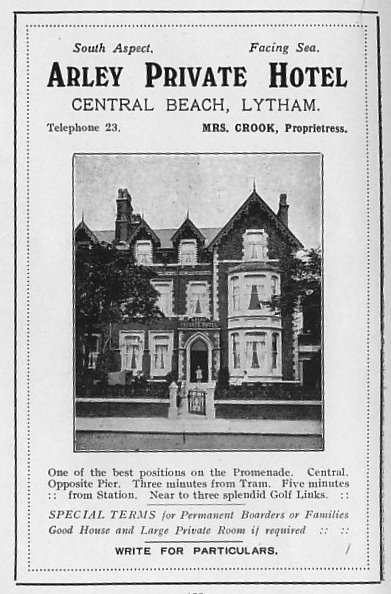 Advert from 1925 for the Arley Hotel, Central Beach, Lytham.