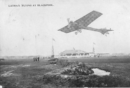 Flying at Squires Gate, Blackpool, 1909; the bungalow belonged to Blackpool Golf Club.