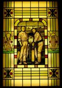 The stained glass window depicting R.G.Barlow and A.N.Hornby which once graced the vestibule door of Alderlea. It is now at Old Trafford. Click on the image for details.