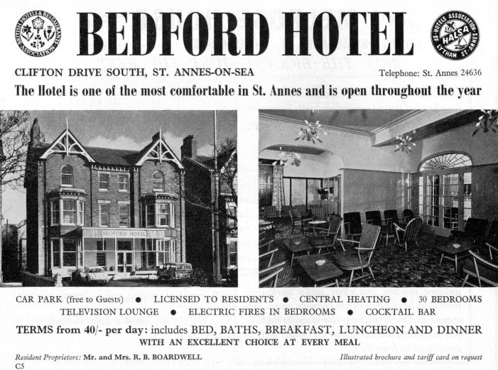 Advert for the Bedford Hotel from 1967.