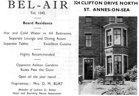 Bel-Air Boarding House, 324 Clifton Drive North; an advert from 1954.