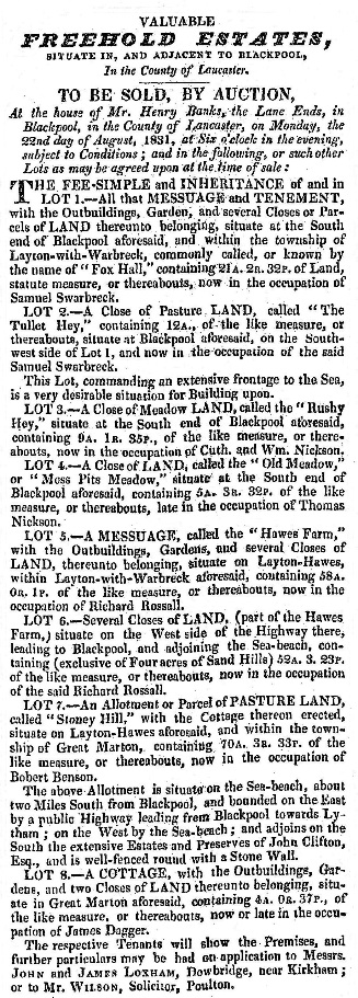 Large Sale of Land, Blackpool, 1831