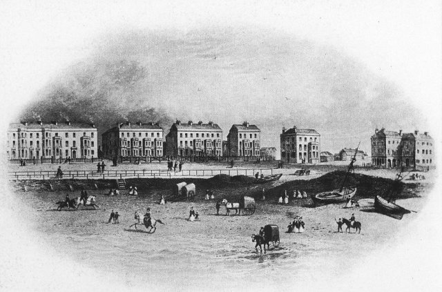 Blackpool in 1852 with Robert Bickerstaffe's Wellington Hotel is the second building on the right, by Chapel Street.