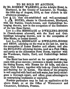 Advert for the sale of the Adelphi Hotel in 1855.