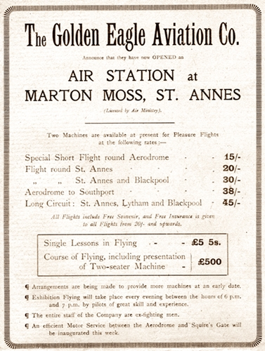 Advert for the Golden Eagle Aviation Company, Blackpool 1919.
