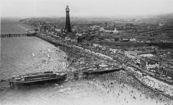 Aerial view of Blackpool with Central Station in the centre.