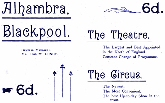 Advert for The Alhambra, Blackpool 1899.