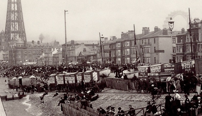 Bathing Machines at Blackpool in the 1890s.