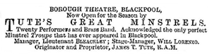 Advert for the Borough Theatre, Blackpool, 1878.