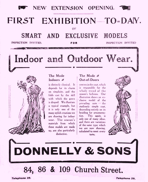 Advert for Donnelly and Sons, Church St, Blackpool, 1909.