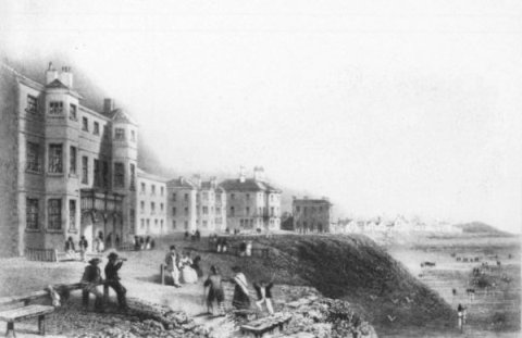 The Lane Ends Hotel (left), Blackpool, in the 1840s. This was on the Promenade, near the junction with Church Street.