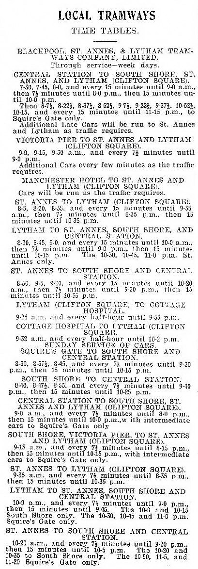 Blackpool, Lytham & St.AnnesTramways Timetable for August,1905.