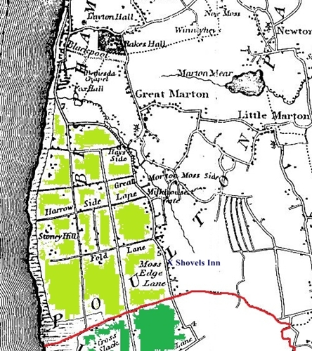 Blackpool c1830 - the area shaded light green was Layton Hawes which was enclosed from the 1760s onwards and today comprises all of South Shore and part of Central Blackpool.