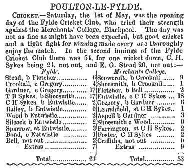 Fylde Cricket Club v Merchants' College, Blackpool, 1st May, 1875.