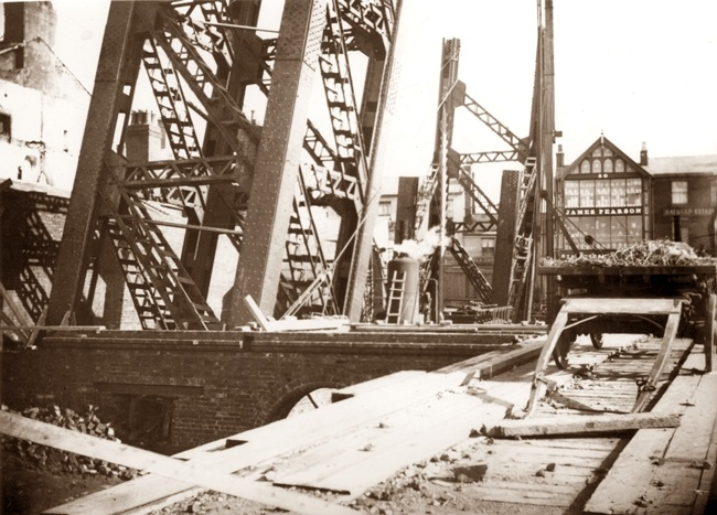 Early days in the construction of Blackpool Tower c1891.