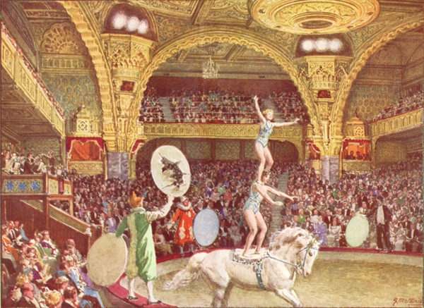 'The Tower Circus' One of a series of watercolours by Fortunino Matania commissioned by the Directors of the Blackpool Tower Company. They were used to illustrate their Souvenir programmes in the late 1920s.