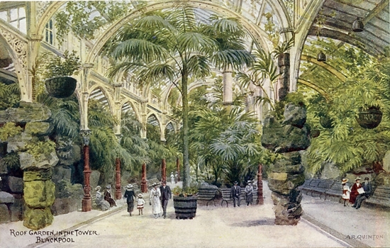 Blackpool Tower Roof Gardens in the early 1900s; a watercolour by A R Quinton.