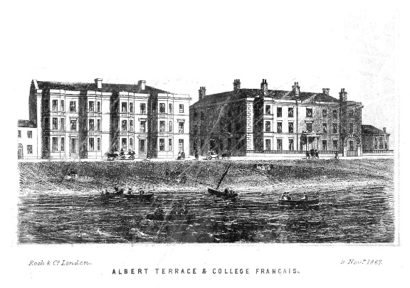 Albert Terrace and the College Francais, South Shore, Blackpool, 1867.