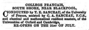 Advert for the College Francais, Blackpool 1856.