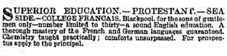 Advert for the College Francais, October, 1868.