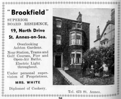 Brookfield Boarding House, 330 Clifton Drive North; an advert from 1934.