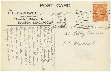Picture Postcard sent by Mrs Cardwell of Cardwells Nursery, Midgeland Road, Marton, Blackpool, 1946.