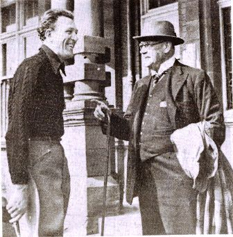 The actor, Carl Brisson chatting with Sir George Mellor.J.P. at the Grand Hotel, St.Annes, in 1938.