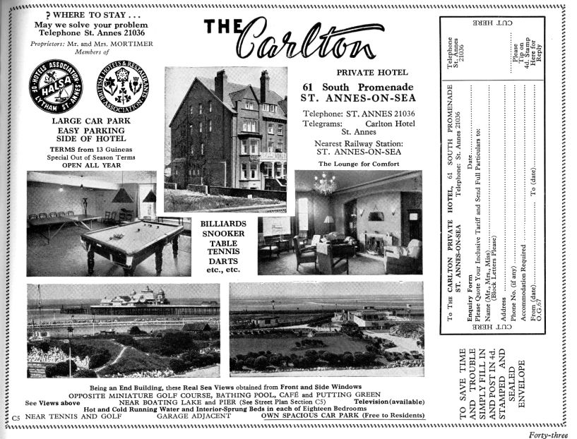 Advert for the Carlton Hotel from 1967.