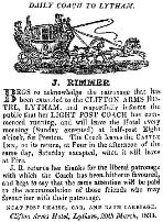 Advert for the Clifton Arms Light Post Coach, 1834.