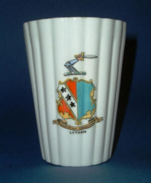 Rare Foley crested china with the Clifton family coat of arms. Produced for Lawson's China Shop, Lytham c1880.