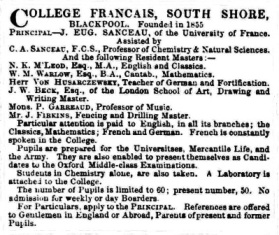 Advert for the College Francais, March, 1858.