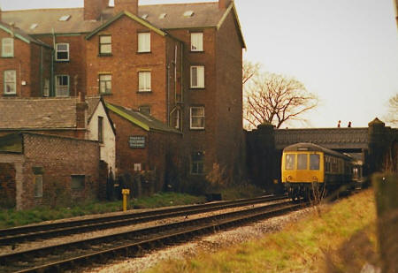 Train passing under The Crescent, St.Annes c1980
