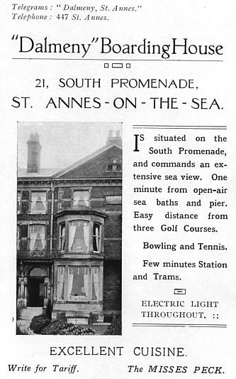 Advert for the Dalmeny Boarding House, South Promenade, St.Annes-on-the-Sea, 1925.