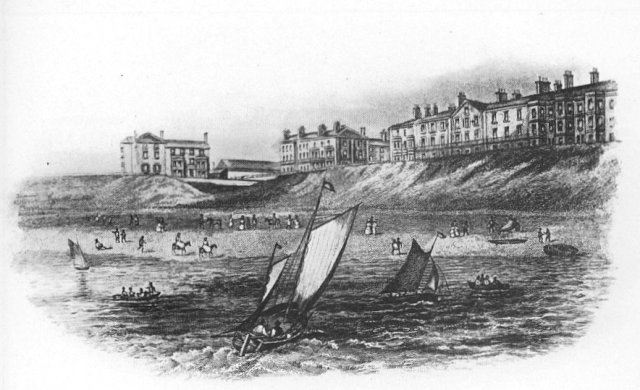 Blackpool in the 1850s with Dickson's Hotel (now Butlins Metropole) to the left & Queen Street (centre).