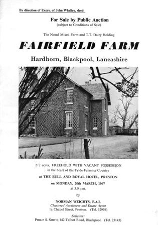 Cover of the sale brochure for Fairfield Farm, Hardhorn, near Blackpool, 1967.