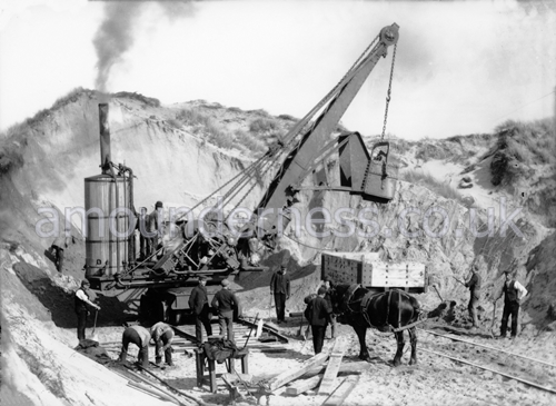 Laying out the Estate, Fairhaven 1892-3. A steam navvies, nicknamed 'American Devils' were used to level the dunes.