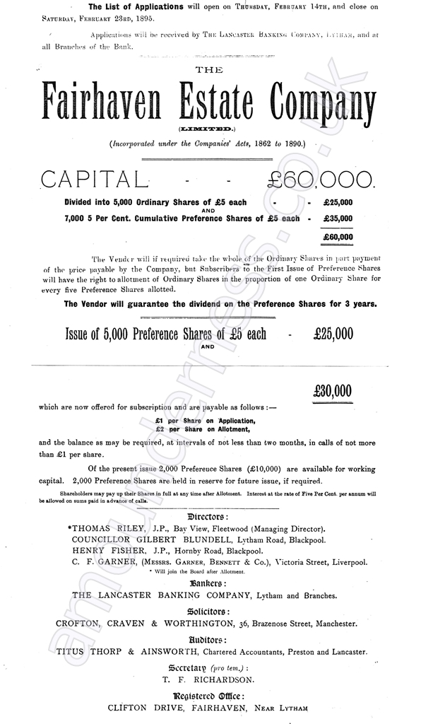 Fairhaven Estate Company Prospectus, 1895