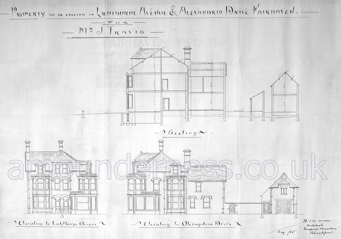 Plans for a house to be erected at the corner of Alexandria Drive and Lightburne Avenue on the Fairhaven Estate, 1898.