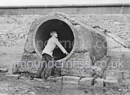 The sluice pipe used to fill Fairhaven Lake. In August 1951 Suzanne Hoyle and Leslie Nightingale were swept through this pipe into the lake.