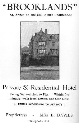 Advert for the Brooklands Hotel St.Annes, 1925.