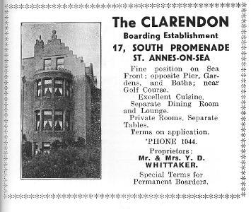 Advert for The Clarendon Hotel, St.Annes, 1934.